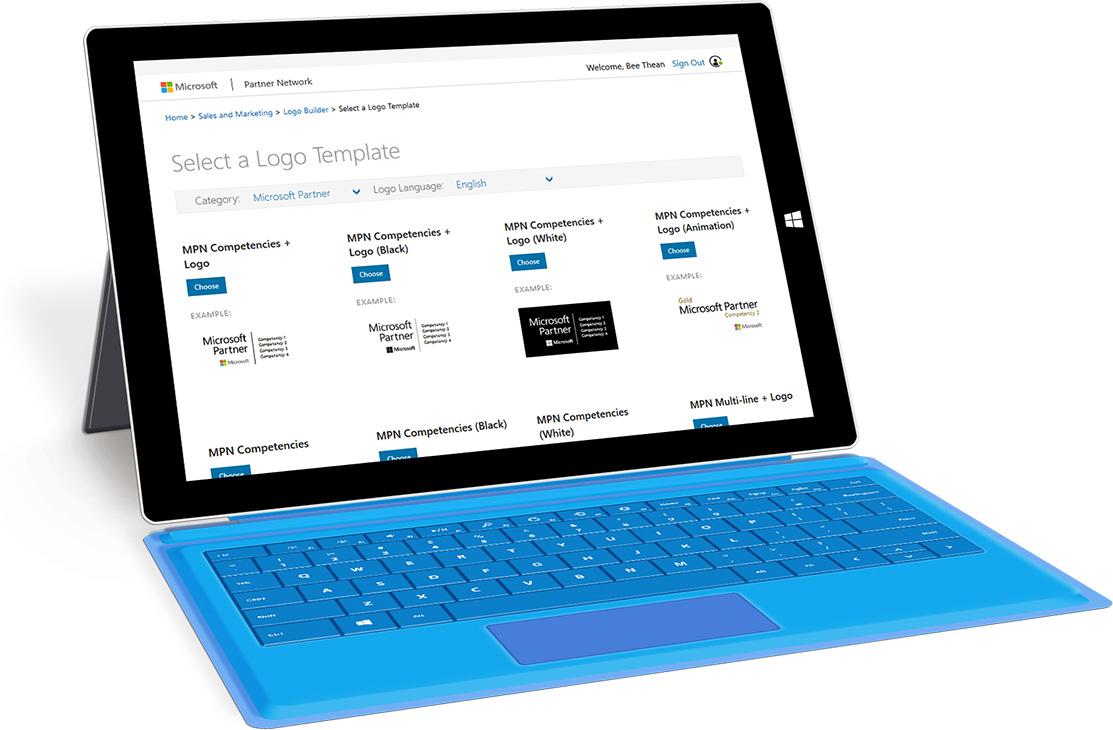 Microsoft Logo Builder on Surface